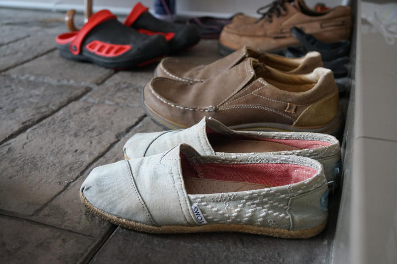 Carmen Marks' favourite pair of shoes outside her parents' home in Penang.