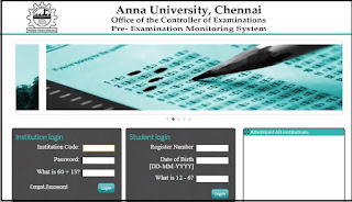Anna University Controller of Examinations coe1.annauniv.edu Students Portal