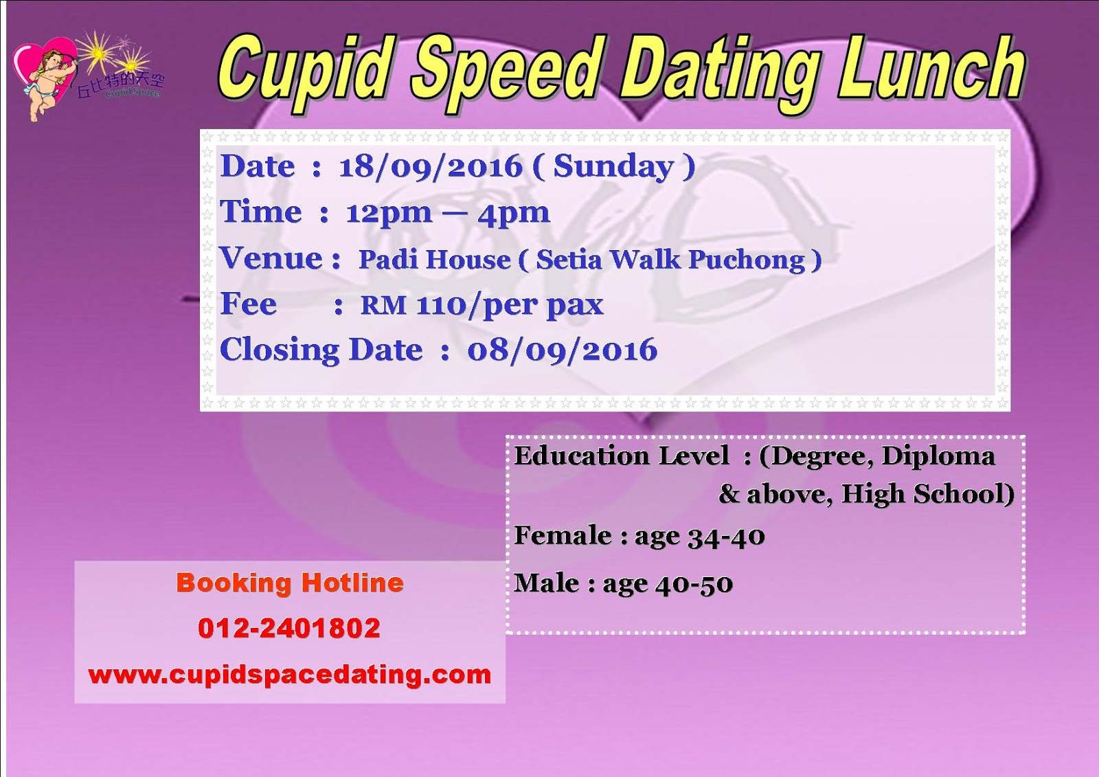 cupid space speed dating A speed dating host shares what you can expect at a speed dating event find this pin and more on the look of love by jessica druck i don't know about you, but i've always had this idea that speed dating events are either held in a high school cafeteria at night or.
