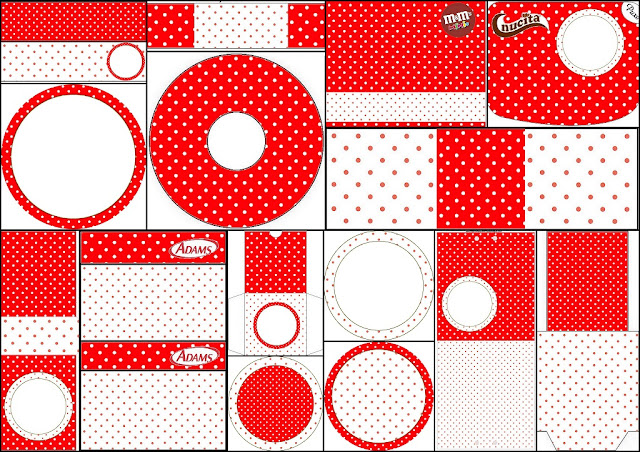 Red and White Polka Dots Collage.