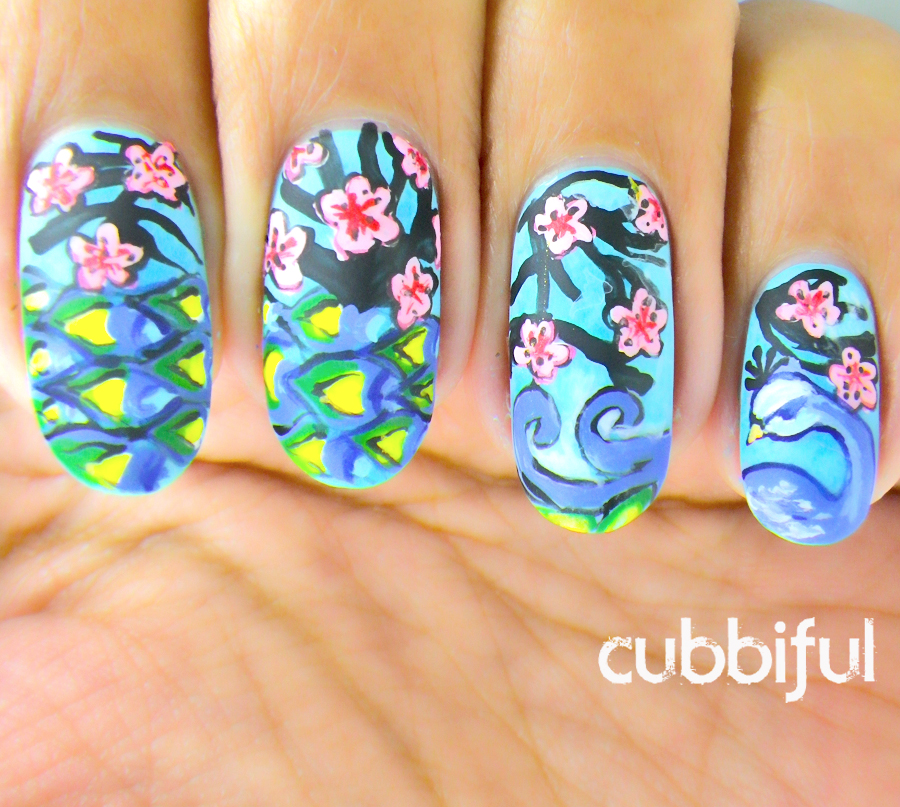 peacock nails with cherry blossom flowers