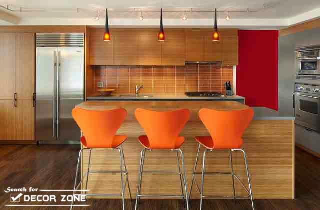 Orange Kitchen Bar Stools In Beige Decor