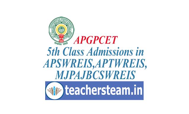 APGPCET 2019 Admission in to 5th class in APSWREIS,APTWREIS,MJPAJBCSWREIS