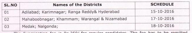 TS/Telangana D.Ed 2nd year exam fee last dates 2016 & time table