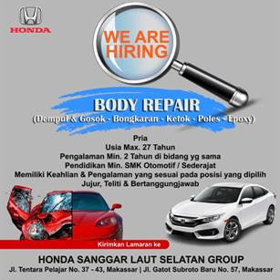 Lowongan Kerja Body Repair di Honda Sanggar Laut Selatan Group