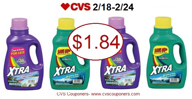 image regarding Xtra Laundry Detergent Printable Coupon titled CVS Couponers: *Inventory UP* Xtra laundry Detergent, Just $1.84