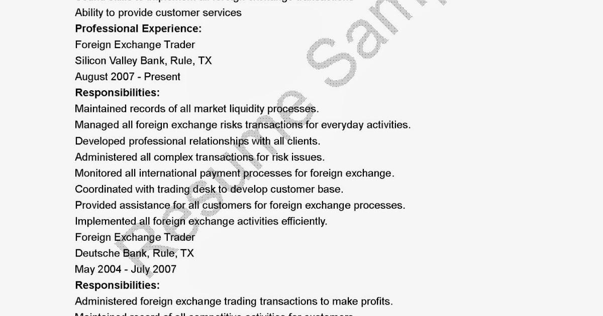 Resume Samples Foreign Exchange Trader Resume Sample