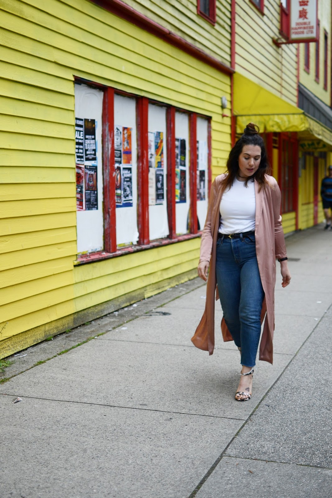 Rose duster coat levis wedgie jeans Le Chateau floral heeled sandals outfit vancouver blogger