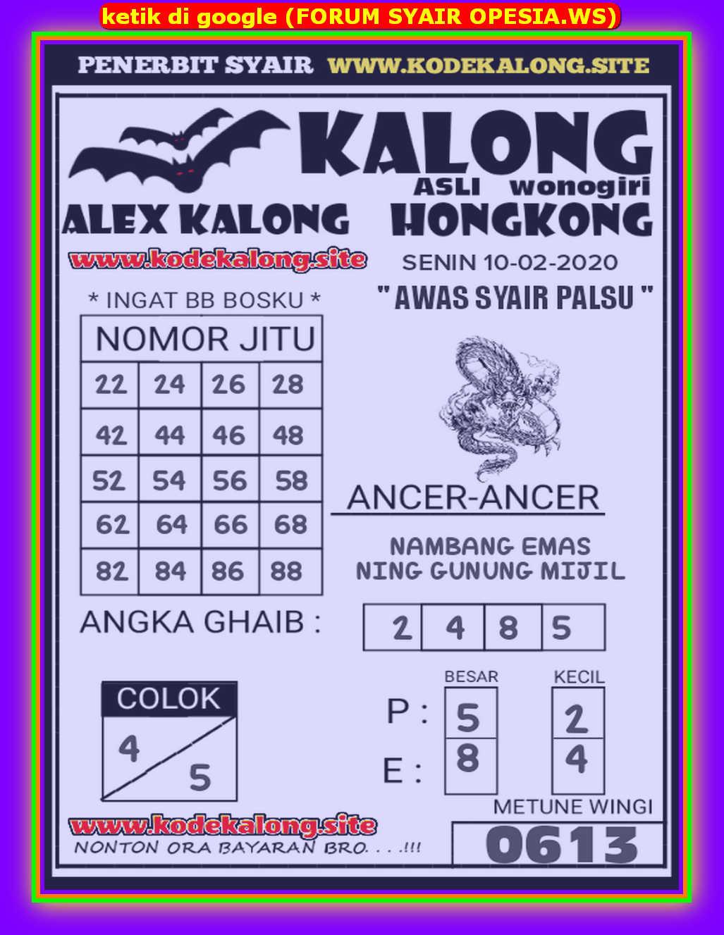 Kode syair Hongkong Senin 10 Februari 2020 146