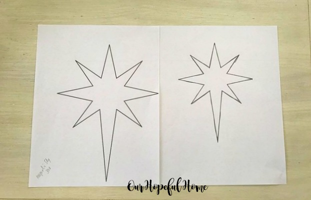 Star of Bethlehem chalk transfer Christmas chalkboard