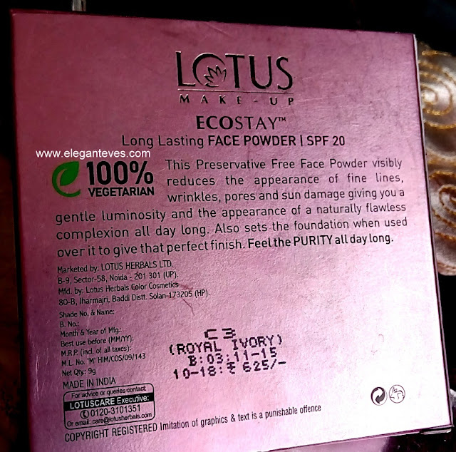 Lotus Ecostay Long Lasting Face Powder-SPF 20 #Royal Ivory