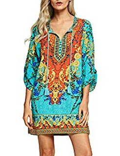 Buy Urban CoCo Women Bohemian Neck Tie Vintage Printed Ethnic Style Summer Shift Dress
