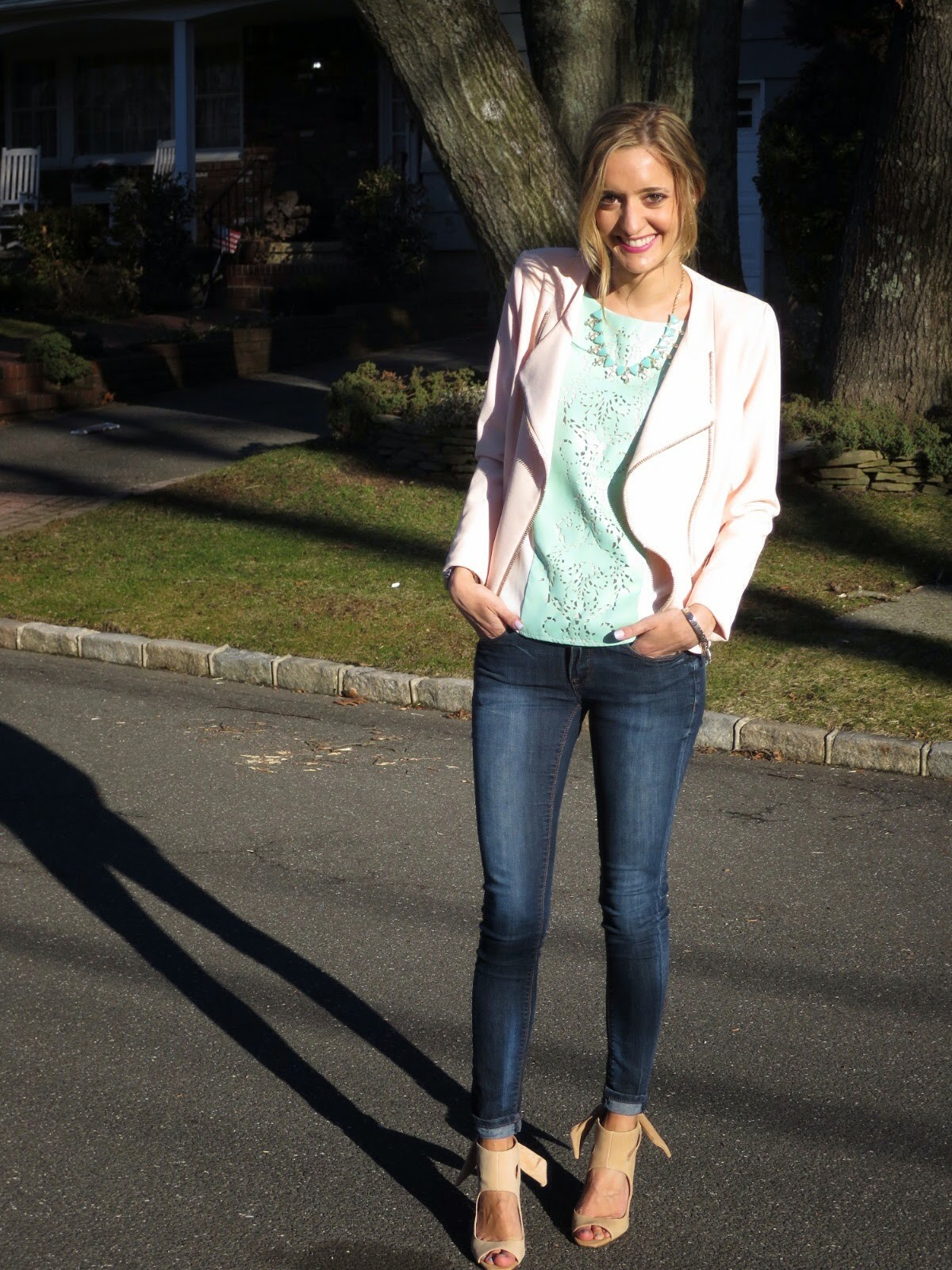 pink and mint outfit