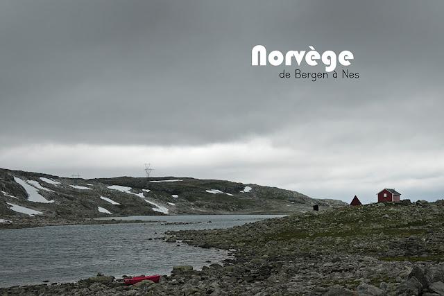 Vue d'une petite maison de pêcheurs sur la route de la neige en Norvège
