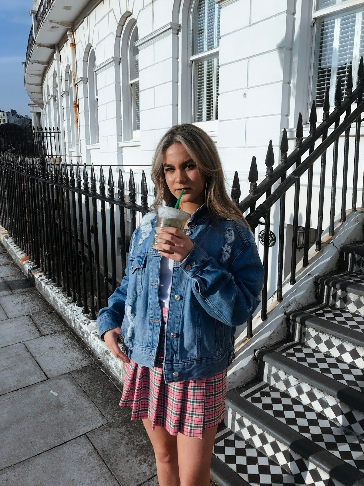 yasminstefanie topshop denim jacket plaid check pleat skirt