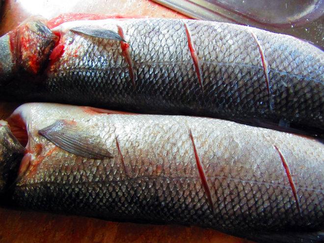 Roasted sea bass with bacon and tomatoes by Laka kuharica: slash skin of the sea bass diagonally along each side.