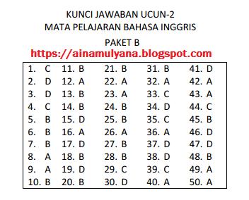 dipakai pemerintah DKI Jakarta sebagai parameter dalam mengukur kesiapan siswa menghada SOAL DAN JAWABAN UCUN 2 BAHASA INGGRIS Sekolah Menengah Pertama TAHUN 2018 – 2019 (PAKET B)