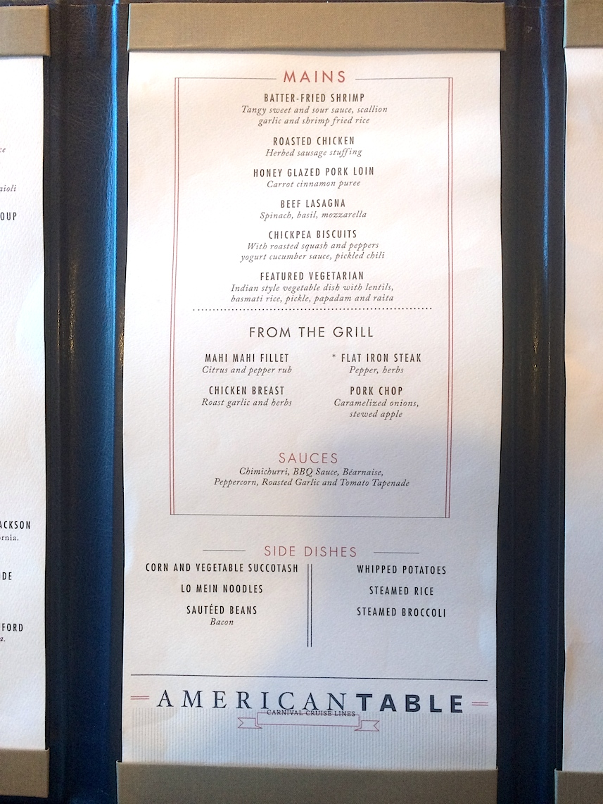carnival cruise menu and food pictures any tots