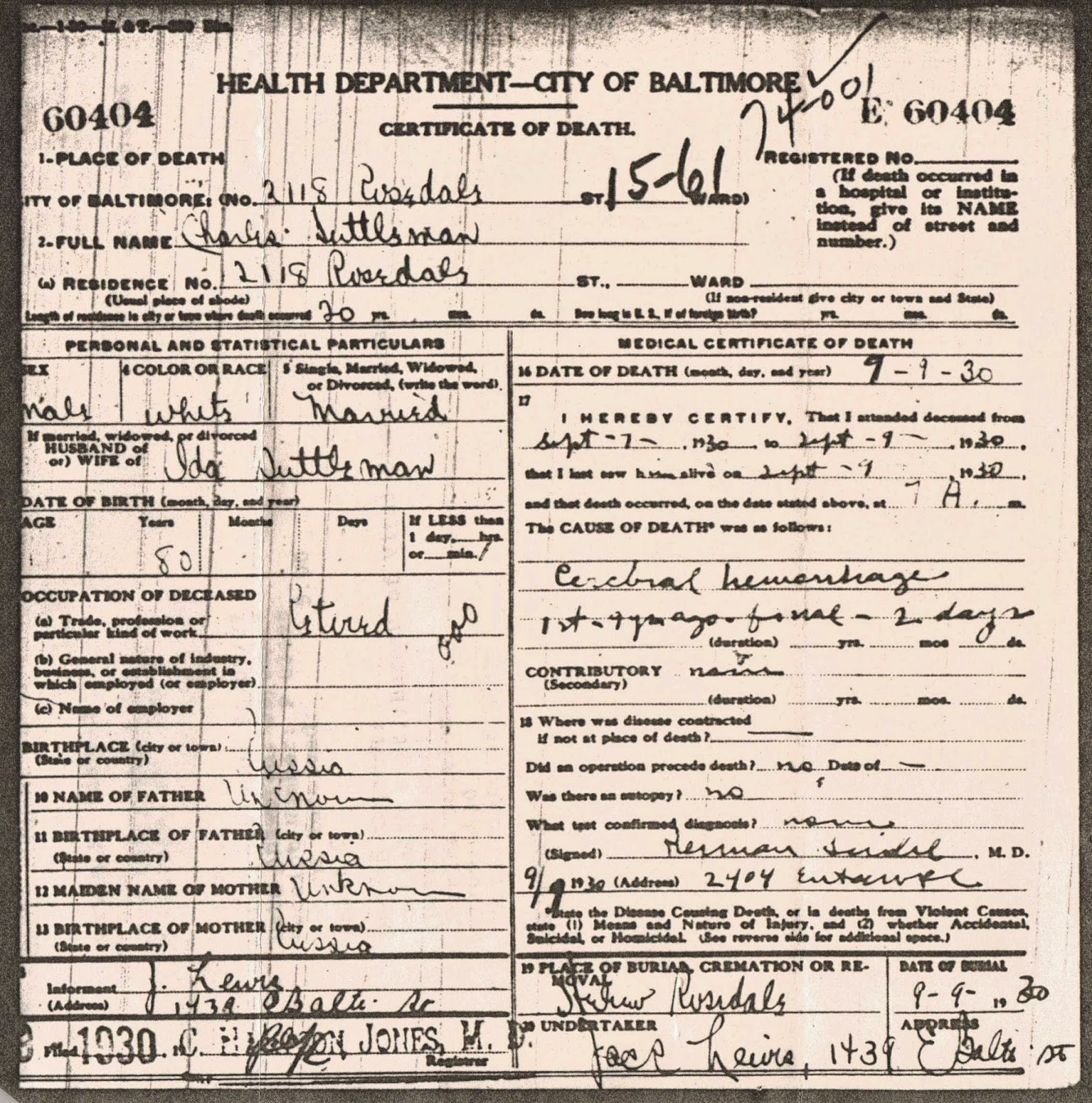 Laras jewnealogy ancestor deep dive yechiel suttleman yechiel charles suttleman death certificate baltimore maryland 1930 1betcityfo Image collections