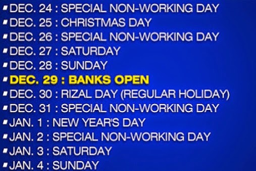 Banks Open Christmas Holidays 2014