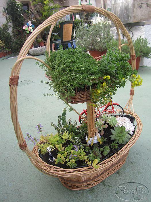 Manualidades puri diaz jardin en miniatura reciclando for Jardines en miniatura