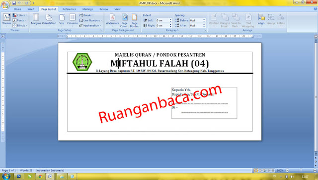 Download Format Amplop Ms Word Siap Edit