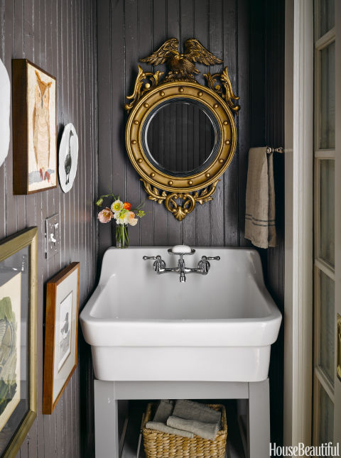 Ken Fulk powder room farm sink beadboard walls New Orleans