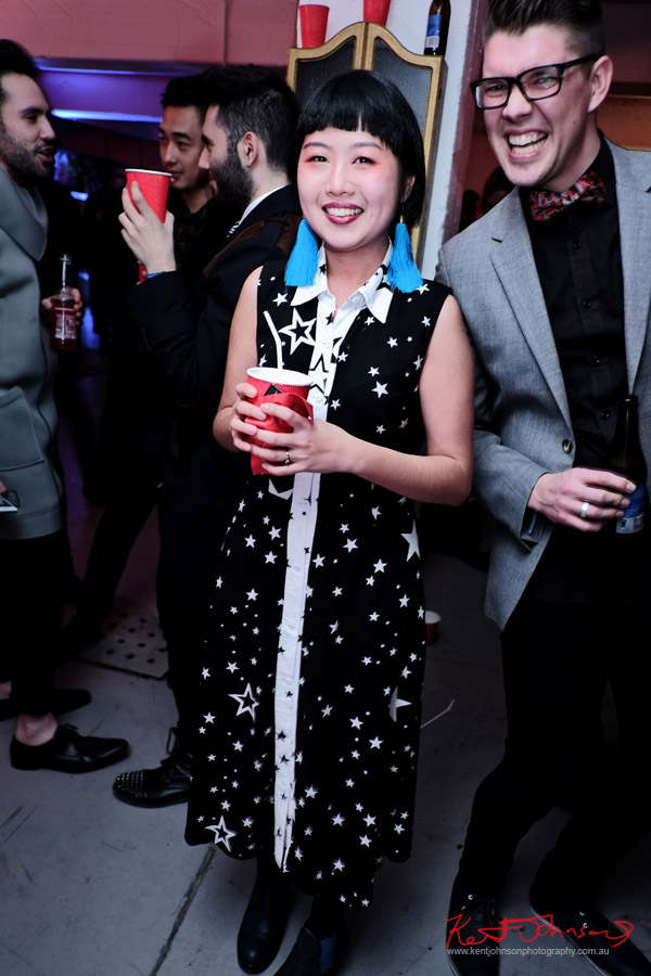 Official Artist - Star dress and blue tassel earrings; ORGNL.TV - Stolichnaya Vodka, Sydney Launch Party