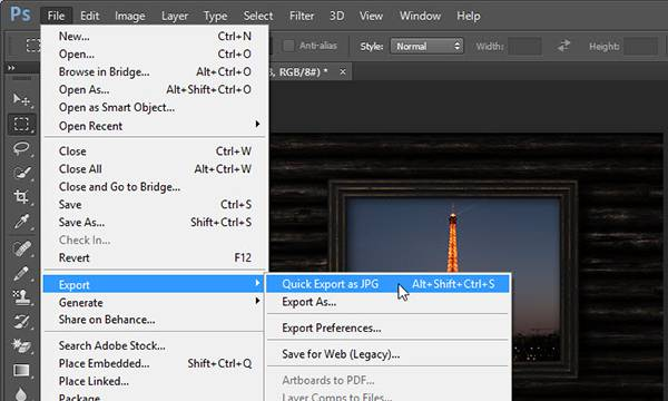 shortcut for quick export as