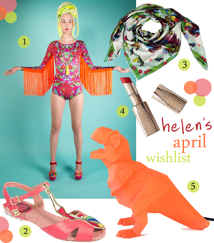 Wishlist, wish list, April wishlist, fringed bodysuit, LOM, Bathing beauty sandals, beach sandals, Miss L-Fire, Bubbles Silk Scarf, Fiona K Design scarf, Kiko lipstick, Rosita Lollipop dinosaur lamp