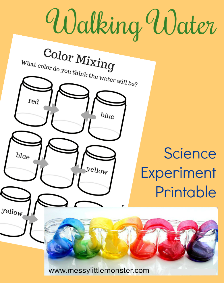 rainbow walking water experiment printable worksheet