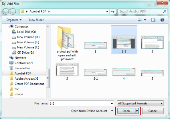 open files to combine into PDF