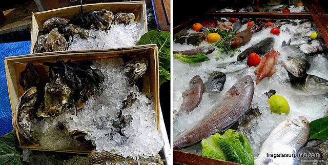 Banca de frutos do mar em Taormina