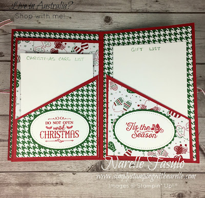 Never loose another important list again with this cute Christmas Organiser - Get all the supplies you need to make your own here - https://www3.stampinup.com/ecweb/default.aspx?dbwsdemoid=4008228