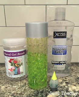 Water Bead Sensory Bottle, www.justteachy.blogspot.com