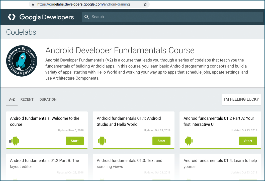 Android Developer Fundamentals course landing page