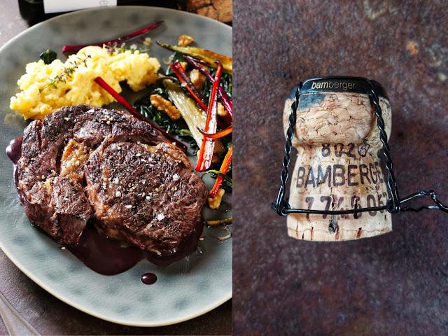 Ribeye Steak mit zweierlei Mangoldgemüse und Polenta