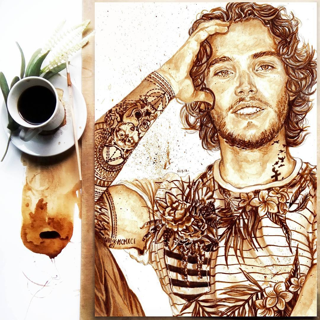 15-Toby-Regbo-Nuria-Salcedo-nuriamarq-Celebrities-and-Animated-Movies-Painted-with-Coffee-and-Brown-Pencil-www-designstack-co
