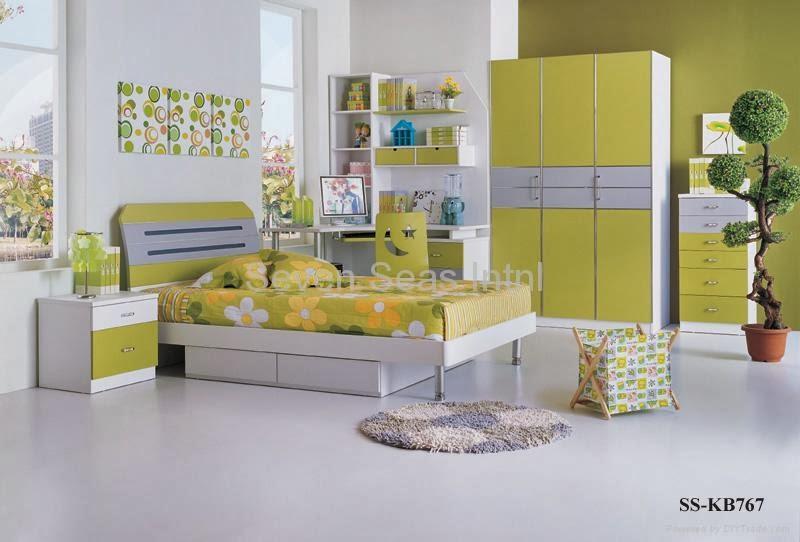 Desain Kamar Anak yang trendy Warna Hijau Muda