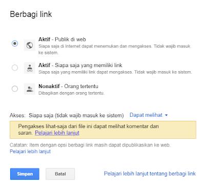 File PDF di Google Drive menjadi publik