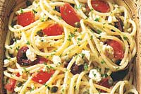 Spaghetti with Tomatoes, Black Olives, Garlic, and Feta Chees