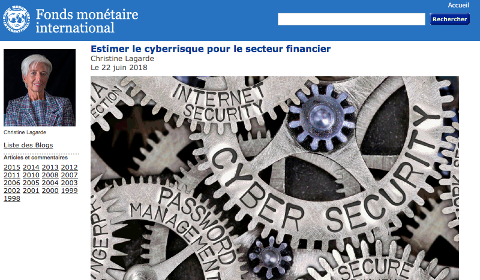 Billet de Christine Lagarde – Le cyberrisque dans le secteur financier