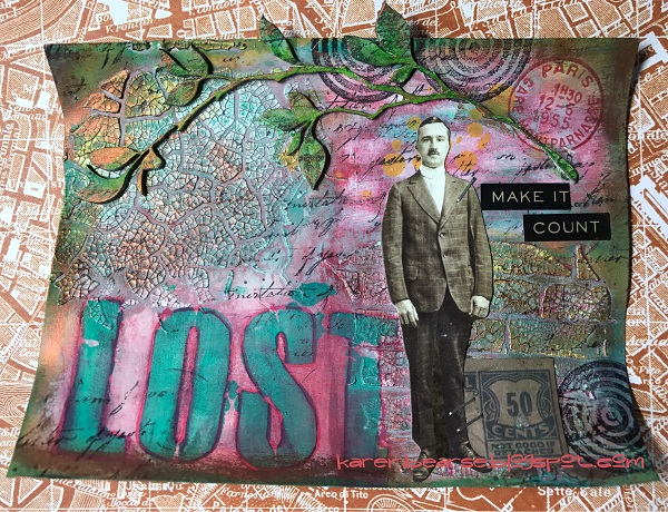 Art Card using blues, greens, pinks, lots of texture. Vintage cut out of a mona & the word Lost