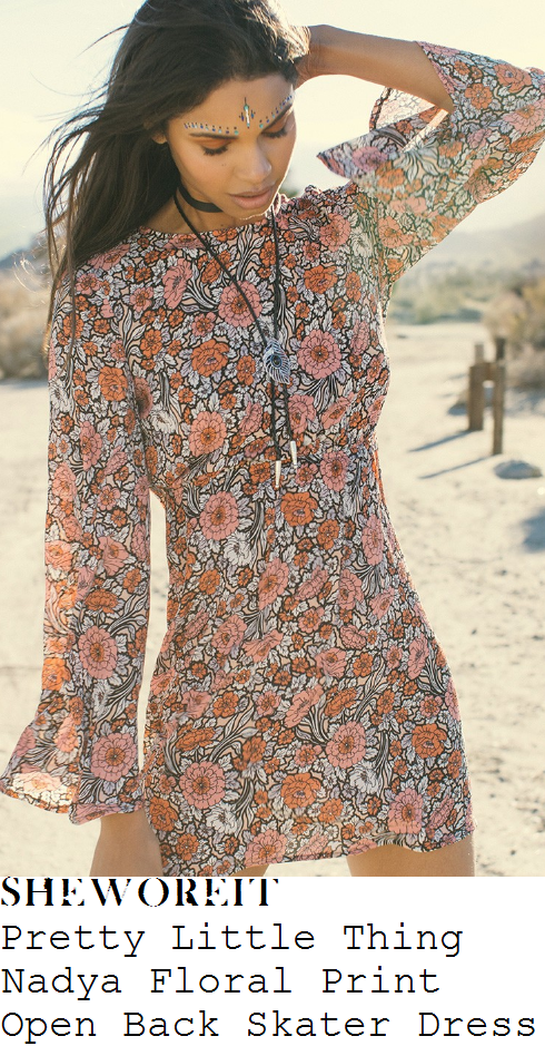 vicky-pattison-pretty-little-thing-nadya-white-black-pumpkin-orange-and-pink-vintage-floral-print-long-flared-sleeve-open-back-tie-detail-skater-mini-dress