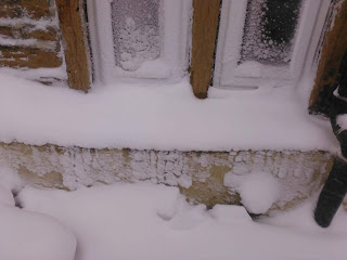 Snow from the east settles in drifts