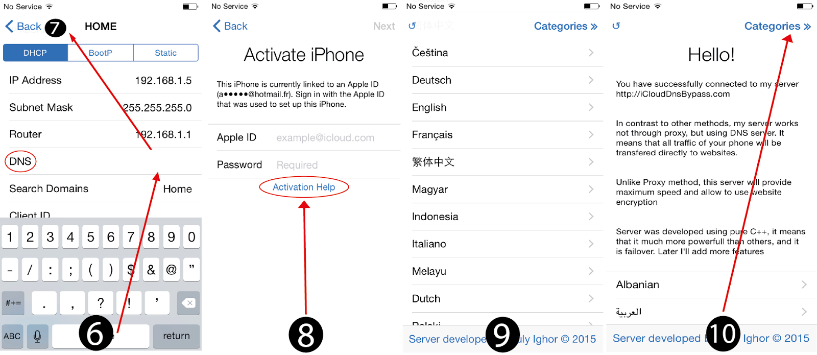 dns code for icloud bypass