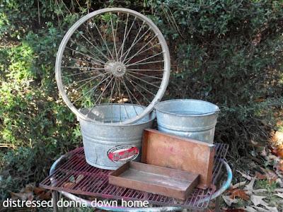 vintage finds, buckets, books, photographs, jars, Coca-Cola