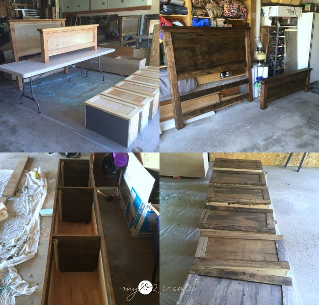 staining farmhouse storage bed