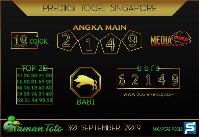 Prediksi Togel SINGAPORE TAMAN TOTO 30 SEPTEMBER 2019