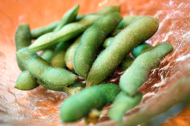 Pile of Edamame Green Soybeans